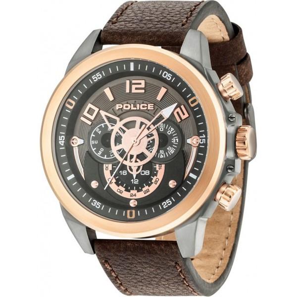 reloj police belmont gris marron